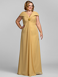 Formal Evening/Prom/Military Ball Dress - Gold Plus Sizes Sheath/Column V-neck Floor-length Chiffon