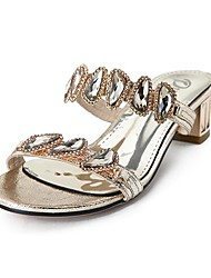 DUMOO Women's Chunky Heel  Slide  Sandals with Rhinestone Shoes More Colors