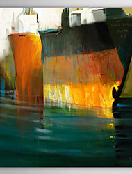 Hand Painted Oil Painting Abstract  Steamboat on The Sea with Stretched Frame