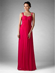 Floor-length Chiffon Bridesmaid Dress - Fuchsia Plus Sizes / Petite Sheath/Column Off-the-shoulder / Sweetheart