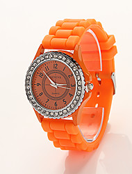 mode cdong montre de silicone de diamant (orange)