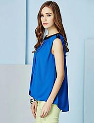 BoLaMei Moda Chiffon Sleevless cor sólida camisa (azul)