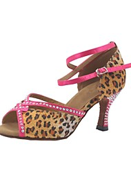 Customized Woman's Leopard Satin Latin Dance Shoes