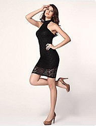 Women's Vintage / Sexy / Bodycon / Lace / Party Lace / Solid Sheath Dress , Halter Mini Polyester