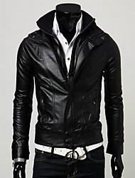Men's Fashion Slim Leerat Coat