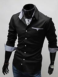 Camisa de S & M de los hombres de manga larga de la envoltura 5907 Negro