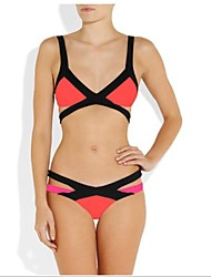 liangmeiyue ™ Frauen grün / pink / gelb Kontrastfarbe sexy Neonfarbe Bikini Bademode Set