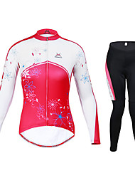 Mysenlan Cycling Jersey with Tights Women's Long Sleeve Bike Breathable Thermal / Warm Quick Dry Windproof WearableJersey +