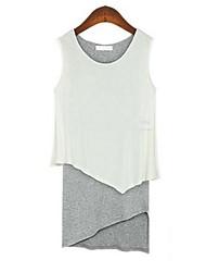 Mujeres Collar Mostrar Ronda Thin Coincidencia de colores falsos dos piezas Vestido sin mangas