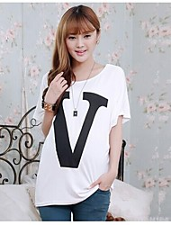 Pregnant Women Fashion Batwing Top Clothes Maternity Letter V Printed Loose T-shirt White&Black