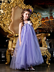 A-line Princess Floor-length Flower Girl Dress - Tulle Straps with Beading Flower(s)