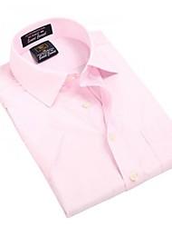 Turn-down col de U-requin hommes d'affaires manches courtes Modal Fibre shirts pur Chemisier rose Top EOZY MD-021