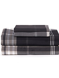 "Sheet Set,4-Piece Microfiber Stripe Coffee with 12"" Pocket Depth"
