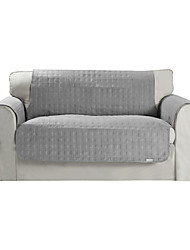 Waterproof Microsuede Grey Solid Mini Cube Quilting Loveseat Cover