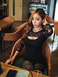 Женская Tight шею длинным рукавом футболки
