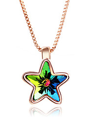 Mingluan Women's  Colorful Star Crystal Dangling Necklace