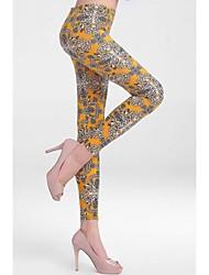 Women's Vintage Floral Print Stretch Leggings