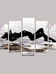 Hand Painted  Oil Painting Modern Decoration with Stretched Frame Set of 5