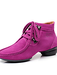 Women's Suede Upper Lace-up Modern Ballroom Dance Shoes Dance Sneakers(More Colors)