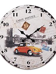 "23""H Retro Style Wood Wall Clock"