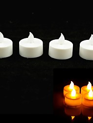 Round Style Flame Twinkle LED Candle with Yellow Light - 4 Pcs