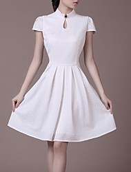 Women's Formal Dress,Solid Knee-length Short Sleeve White Polyester Summer