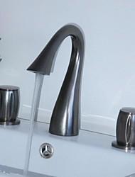 Huilé contemporaines Bronze Trois trous Deux poignées de robinet d'évier cascade salle de bains