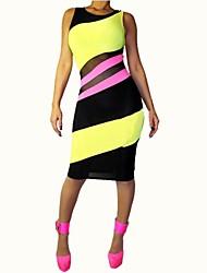 Women's Summer Sexy Yellow Patchwork Bandage Dress