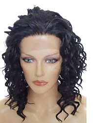 Lace Front Stylish Medium Long Wavy  Heat-resistant Synthetic Wig #1B