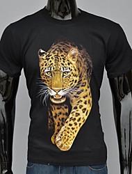 Moda Hombre Negro Luna Leopard camiseta impresa