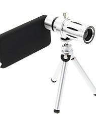Zoom 12X Teleobjetivo metal Celular lente con el trípode para iPhone 5C