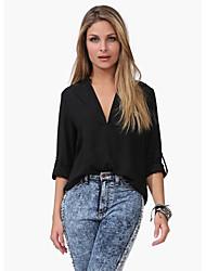Fantasy Women's Long Sleeve Slim Fashion V-Neck Candy Color T-Shirt