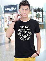 Stampa T-shirt nera con scollo a V Floral Fhonier Uomo
