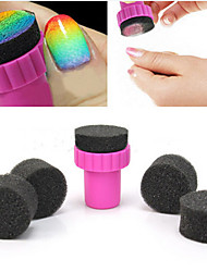1PCS Manicure Sponge Nail Art Stamper Tools with 5PCS Sponge Nail for Gradient Color Nail Art