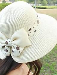 Lady bowknot Pescador Bacia chapéu no verão Grande Along The Straw Hat Sun Juntos Chapéu de Sol Bege