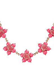 Collier surdimensionné JANE PIERRE orange de fleur d'or de la mode