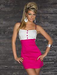 Contraste Sexy Europeo de Mujeres QingSiMuXue color Strapless Vestido ajustado (Fuchsia)