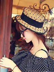 Moda feminina Net Fios Lace Chapéu de Palha