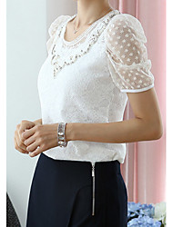 Weila Frauen Round Neck Solid Color Lace-T-Shirt