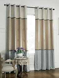 Neoclassical Two Panels Solid  Living Room Linen Panel Curtains Drapes