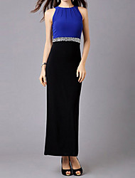Yiya Women's Elegant Sleeveless  Fitted Royal Blue Dress