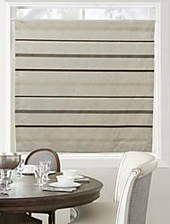 (One Panel) Minimalist Dark Colors Stripe Coffee Curtain