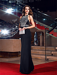 TS Couture Prom Formal Evening Military Ball Dress - Sexy Open Back Elegant Sparkle & Shine Celebrity Style Sheath / Column Jewel