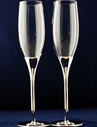Silver Plated Stem Toasting Flutes with Double Heart Base