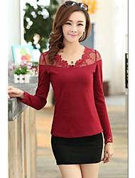 Modèle coréen dentelle T-shirt mince grand de fond de cour de JIANFANSU femmes