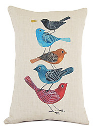 Classic Artistic Hand-paitned Birds Family Decorative Pillow Cover