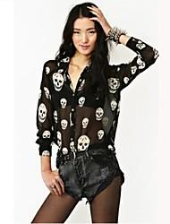 Cráneo de la Mujer de manga larga de gasa sueltos en la T Shirt