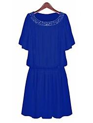 AISNI Frauen Sommer-Chiffon-Kleid mit Fledermaus