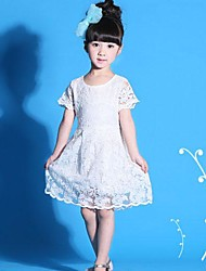 Girl's Red / White / Yellow Dress Cotton Blend / Lace Summer