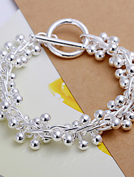 Fresh Sweet Women's Grapes Silver Plated Zinc Alloy Chain & Link Bracelet(Silver)(1Pc)